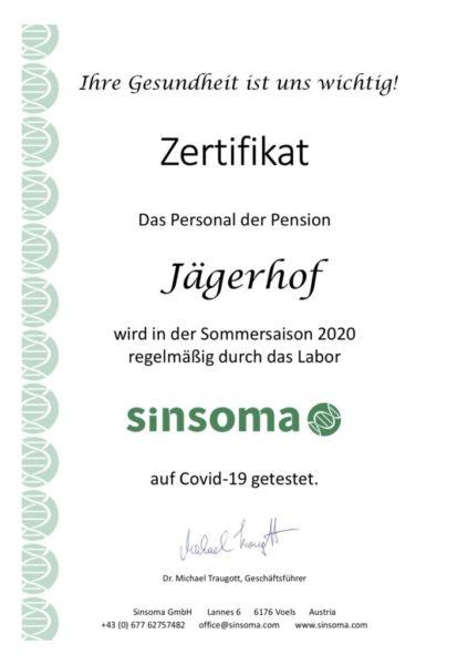 Zertifikat Sinsoma Jägerhof